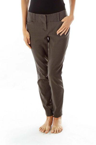 Gray Woven Skinny Pants