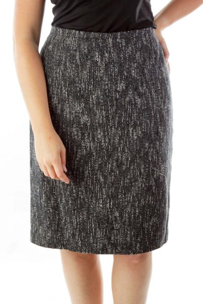 Black White Woven Pencil Skirt
