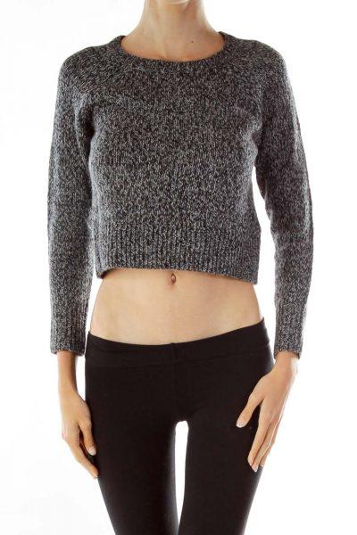 Gray Cropped Alpaca Sweater