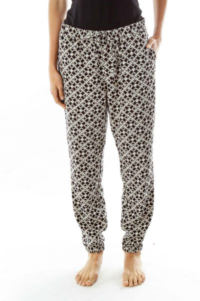 Black White Print High Waisted Pants