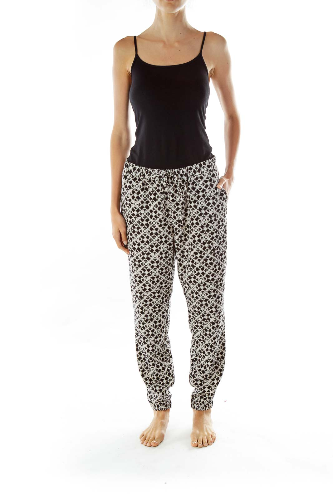 Black White Print High Waisted Pants