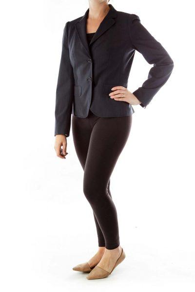 Black Gray Stripe Fitted Blazer