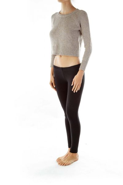 Beige Cropped Alpaca Sweater