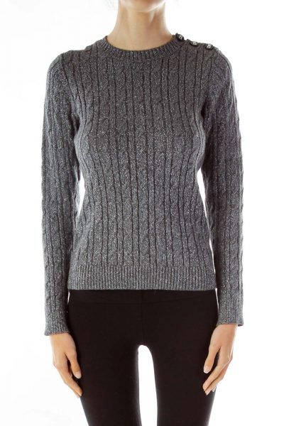 Gray Metallic Cable Knit Sweater
