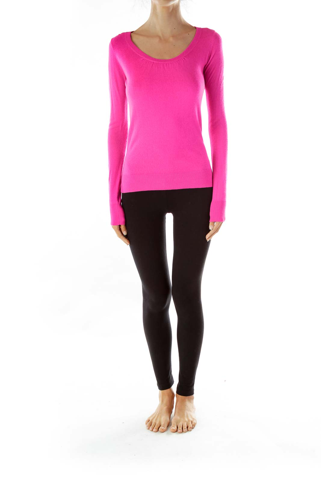 Hot Pink Long Sleeve Knit Top