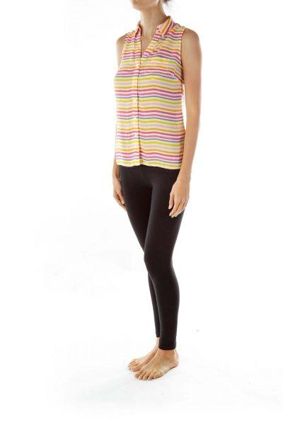 Pink Orange Cream Striped Sleeveless Blouse