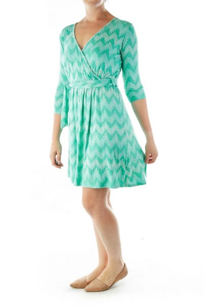 Green White Print V-neck Dress
