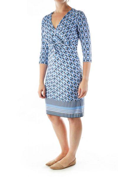 Blue Geometric Print V-neck Dres