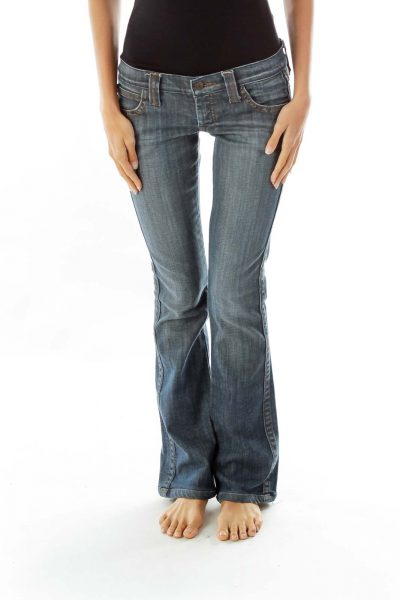 Navy Flared Jeans w/ Heart Pockets