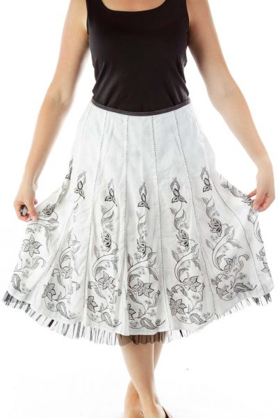 Black White Floral Print Midi Skirt