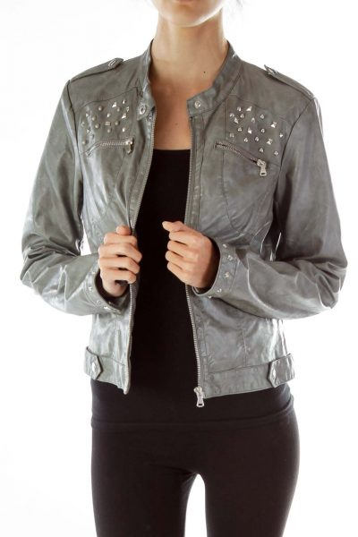Gray Studded Faux-Leather Jacket