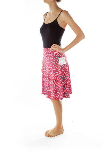 Pink Blue Print Flared Skirt