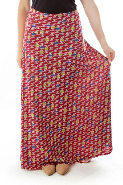 Red Blue Print Maxi Skirt