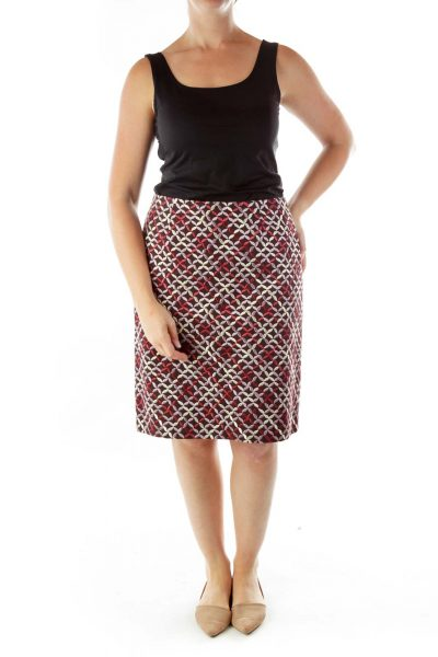 Black Pink Geometric Pencil Skirt