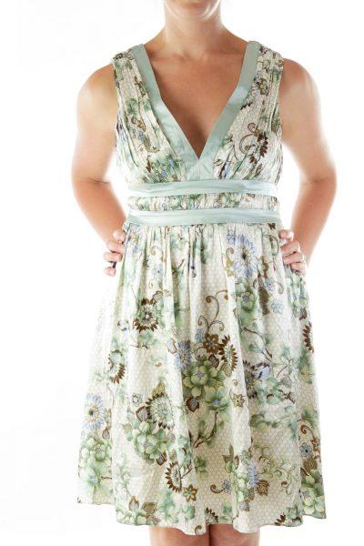 Green Sleeveless Floral Print Day Dress