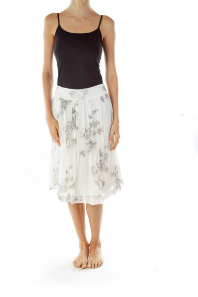 Cream Gray Silk Flared Skirt