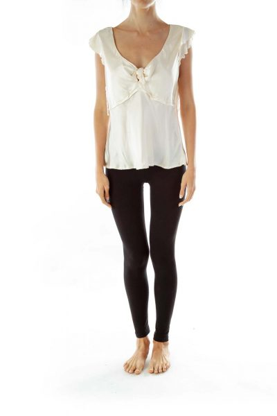 Cream Silk V-Neck Blouse