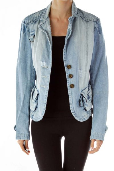 Designer Denim Fitted Jacket