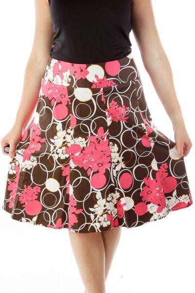 Pink Brown Print Flared Skirt
