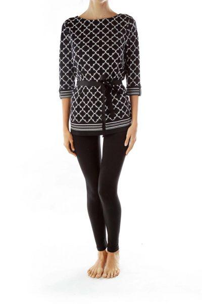 Black White Geometric Tunic