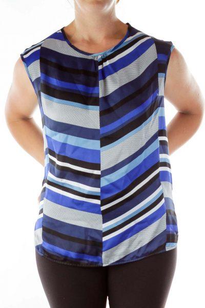 Blue Black Striped Print Blouse