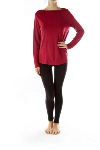 Red Buttoned Long Sleeve T-Shirt