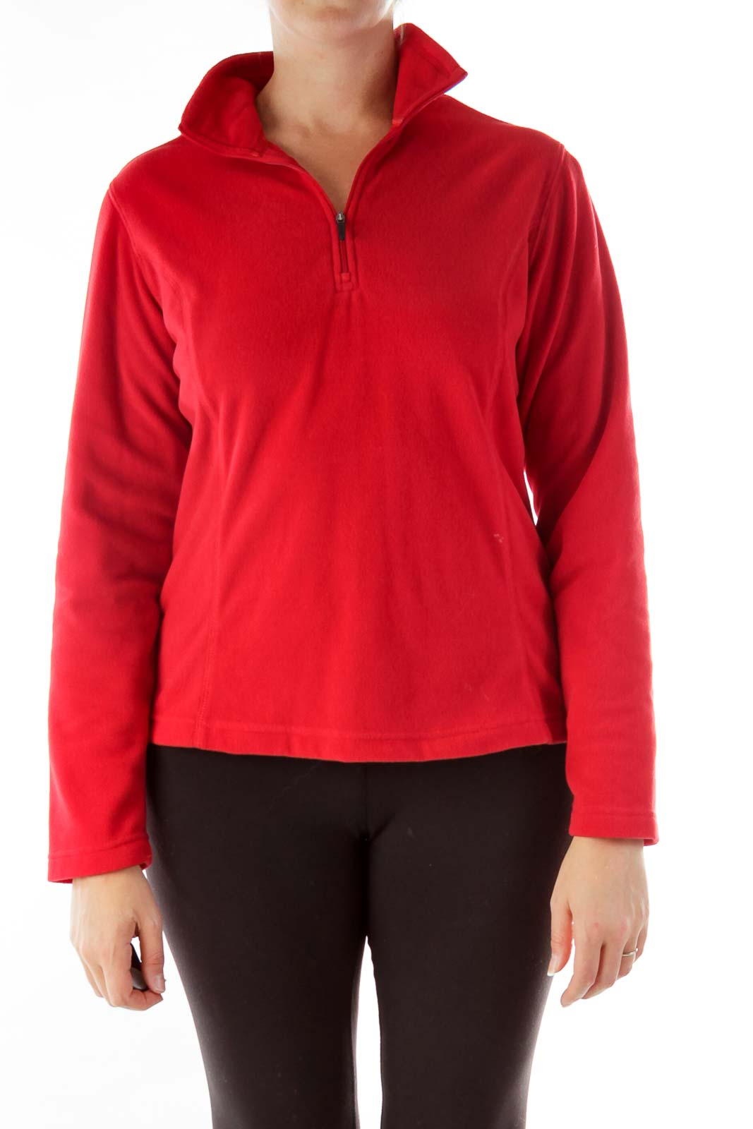 Red Fitted Fleece Jacket
