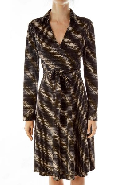 Black Brown Wrap Collared Long Jacket