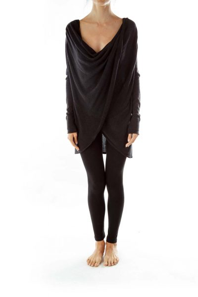 Black Wrap Loose Sweatshirt