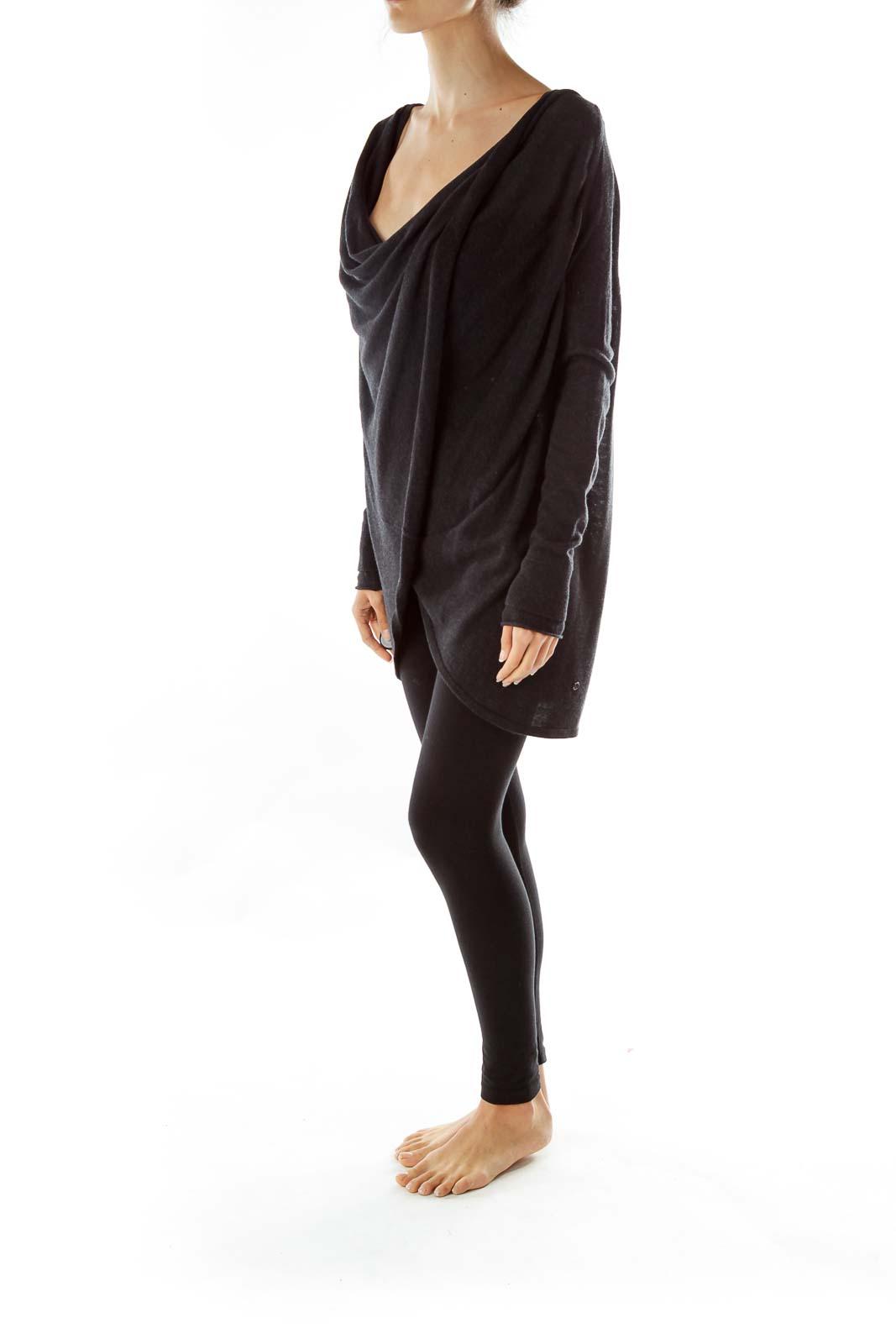 Black Wrap Loose Sweatshirt
