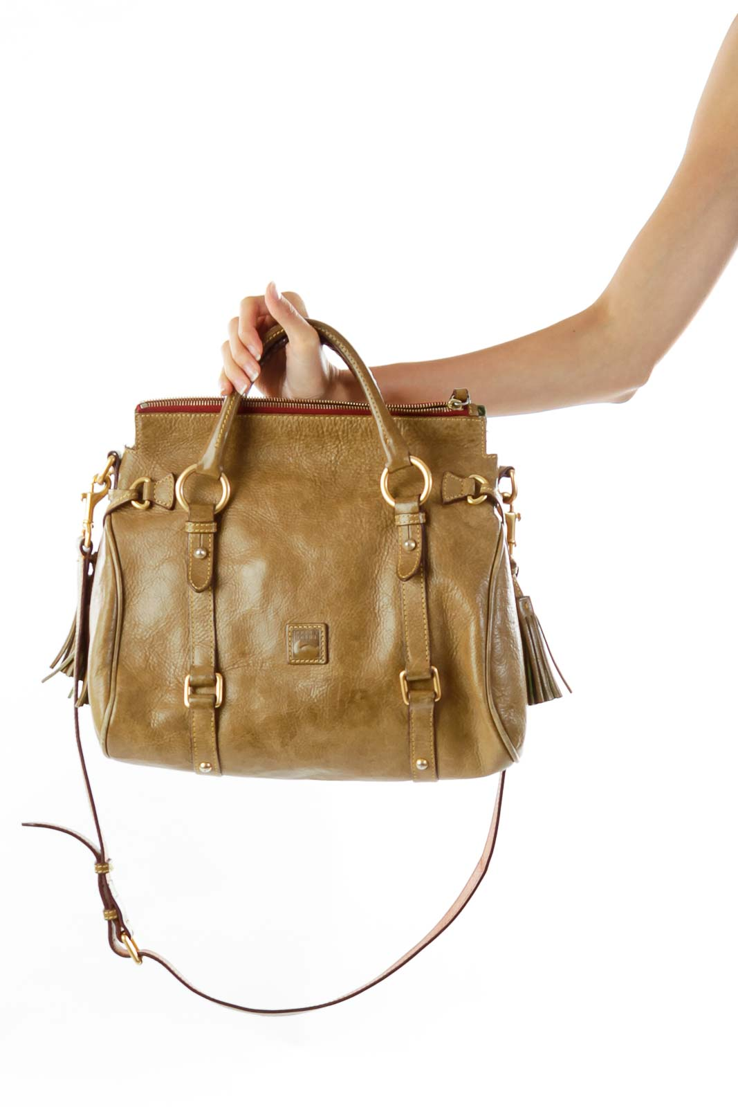 Light Brown Buckle Detail Satchel