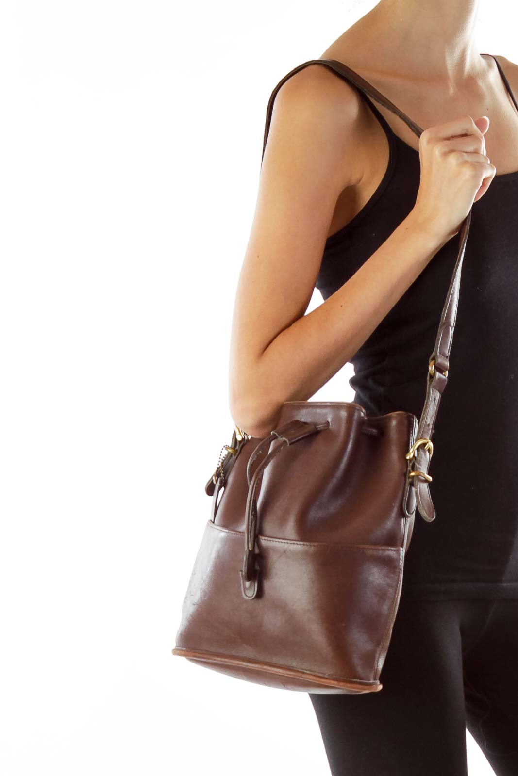 Brown Gathered Leather Crossbody Bag