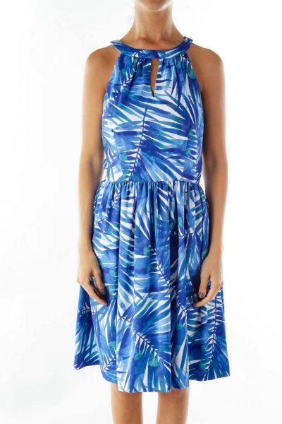 Blue White Leaf Print Dress