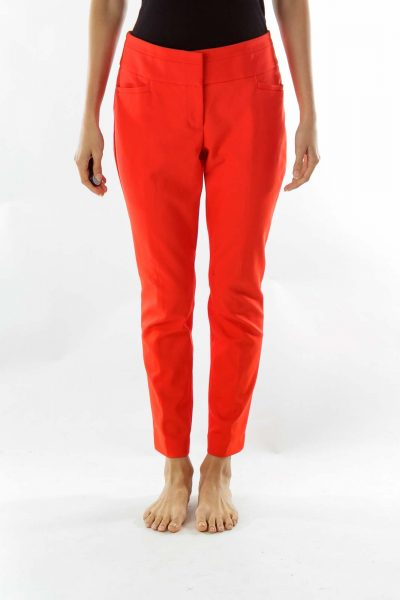 Red Skinny Stretch Pants