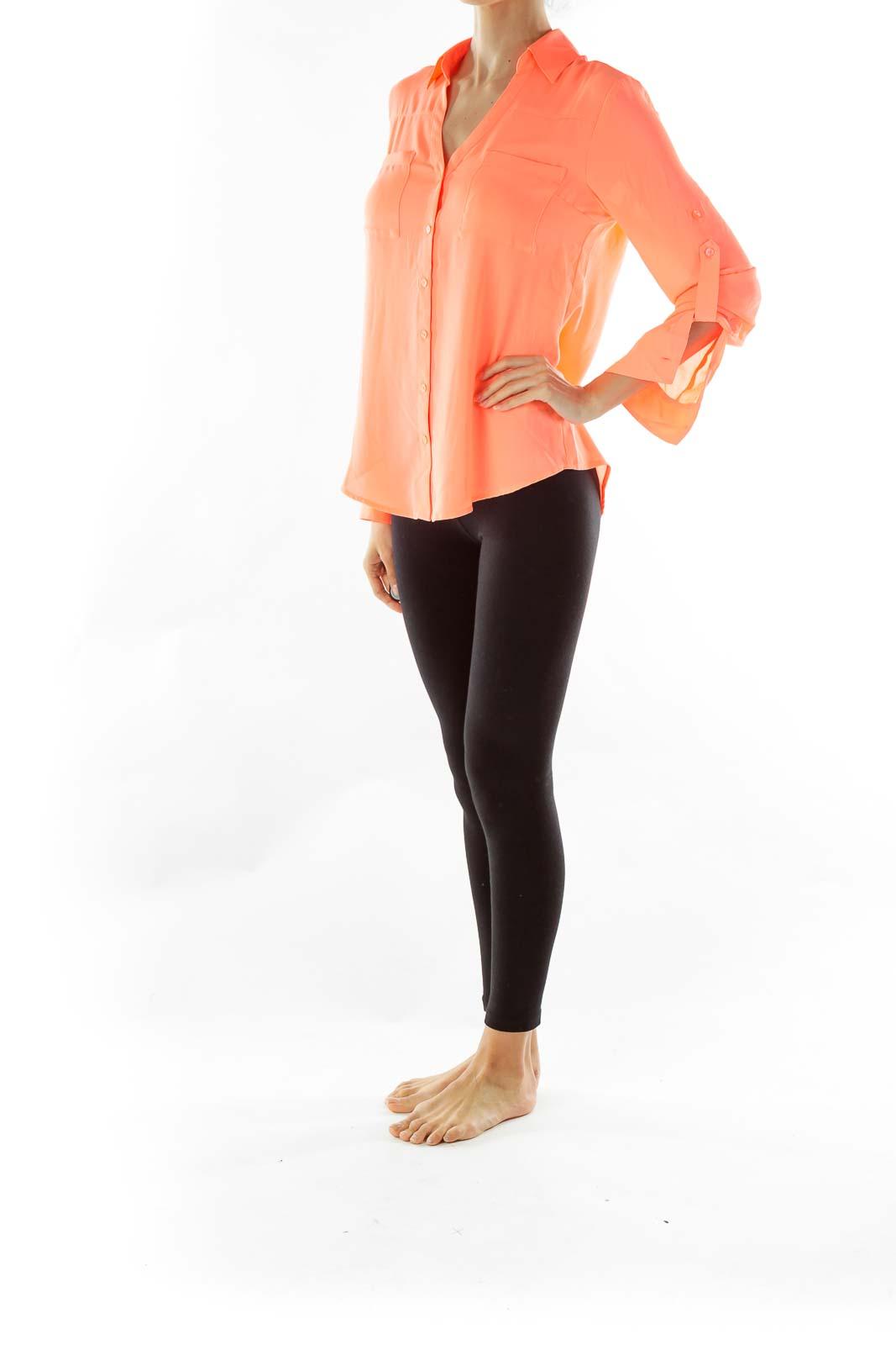 Orange Buttoned Blouse