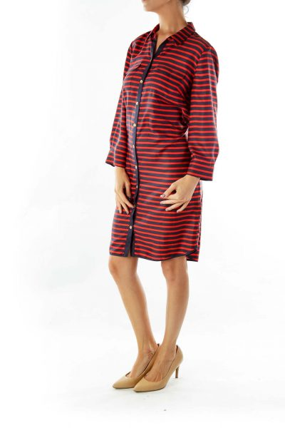 Blue Red Striped Shirt Dress