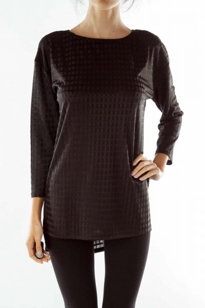 Black Sheer Square Textured Tunic