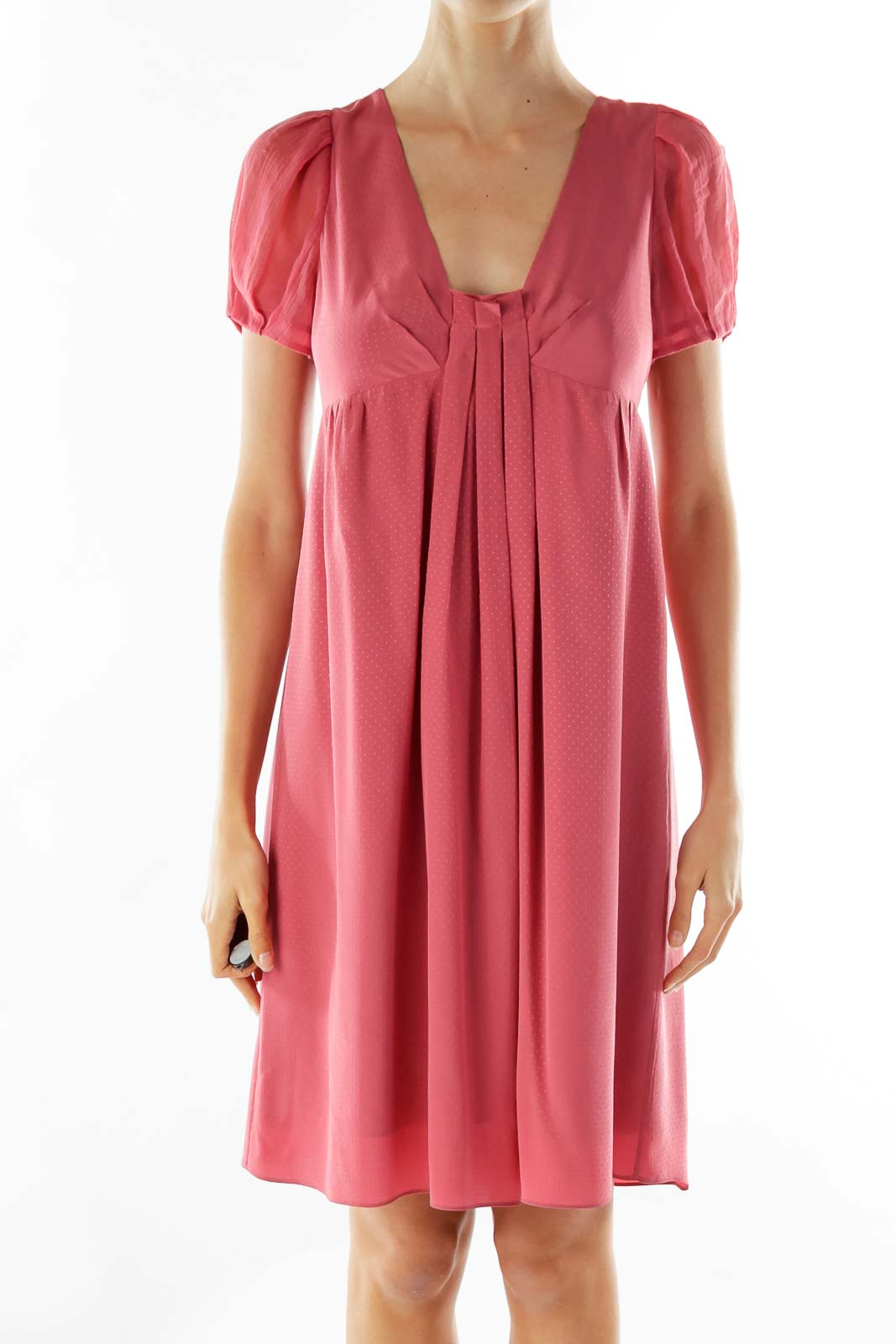 Red Embossed Silk Midi Dress