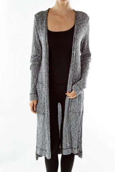 Gray Mottled Knit Long Cardigan
