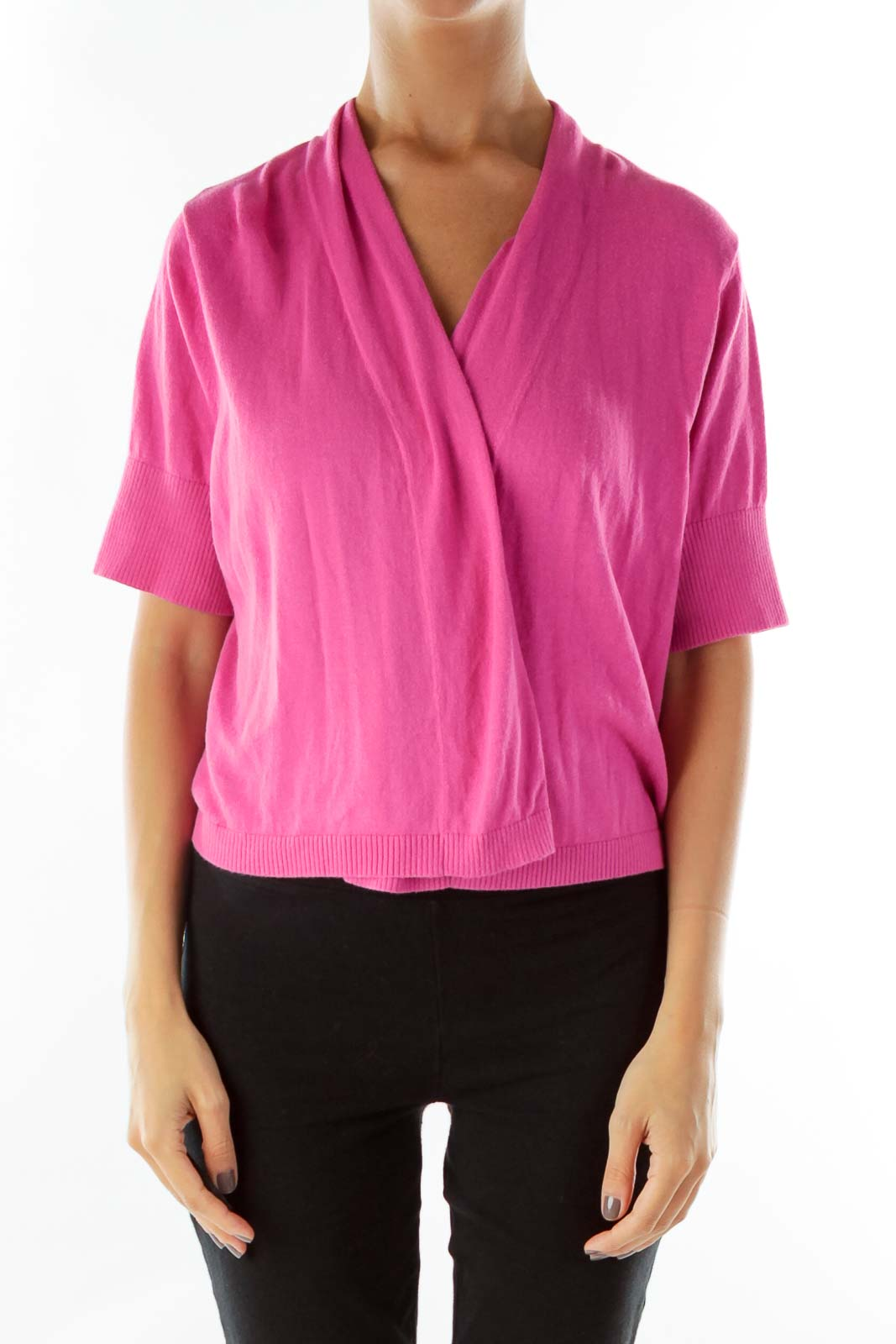 Pink Short-Sleeve Cropped Jacket