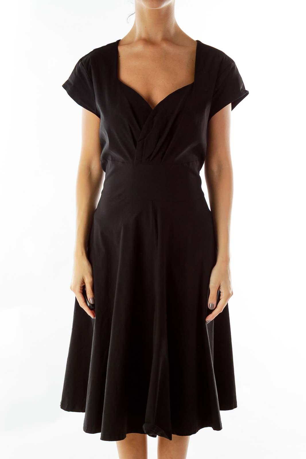 Black Sweetheart-Neckline A-Line Dress