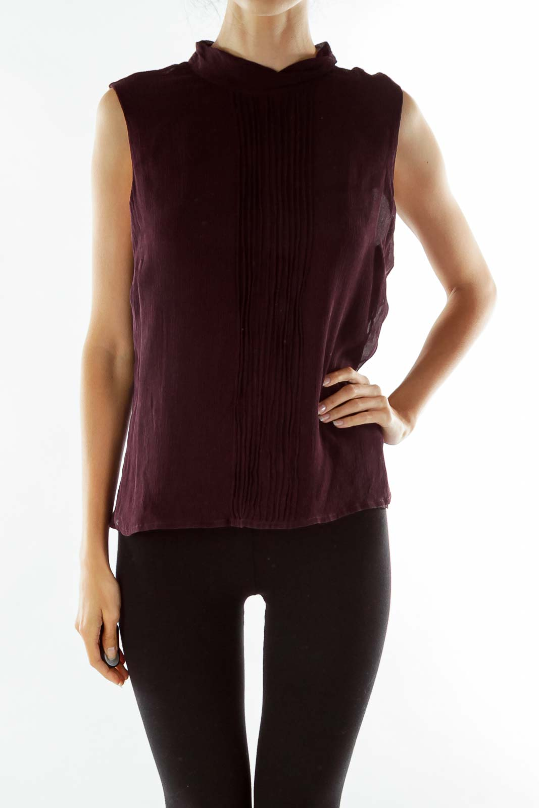 Purple Pleated Sleeveless Tunic