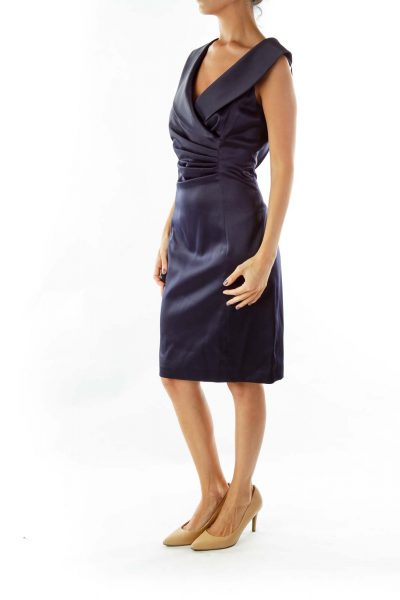 Navy Satin Evening Dress