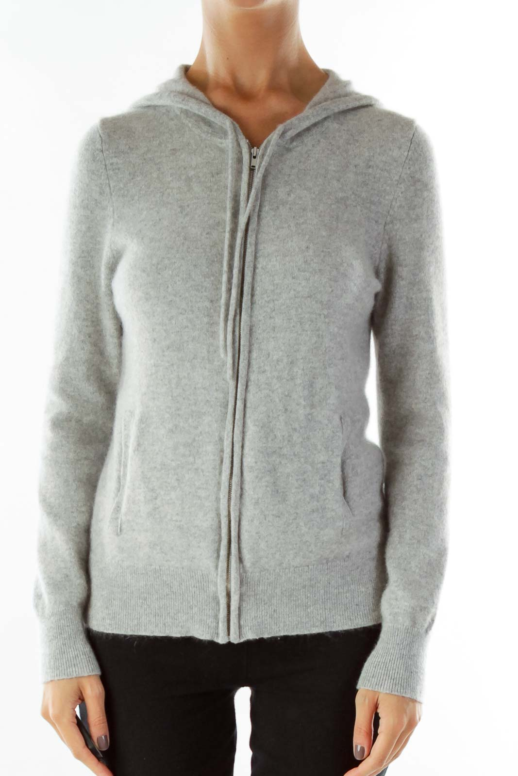 Gray Hooded Cashmere Jacket