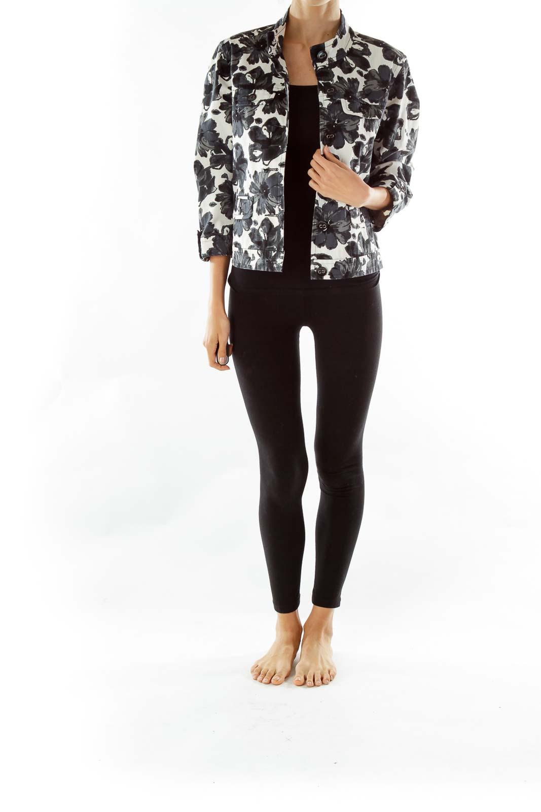 Black White Print Denim Jacket