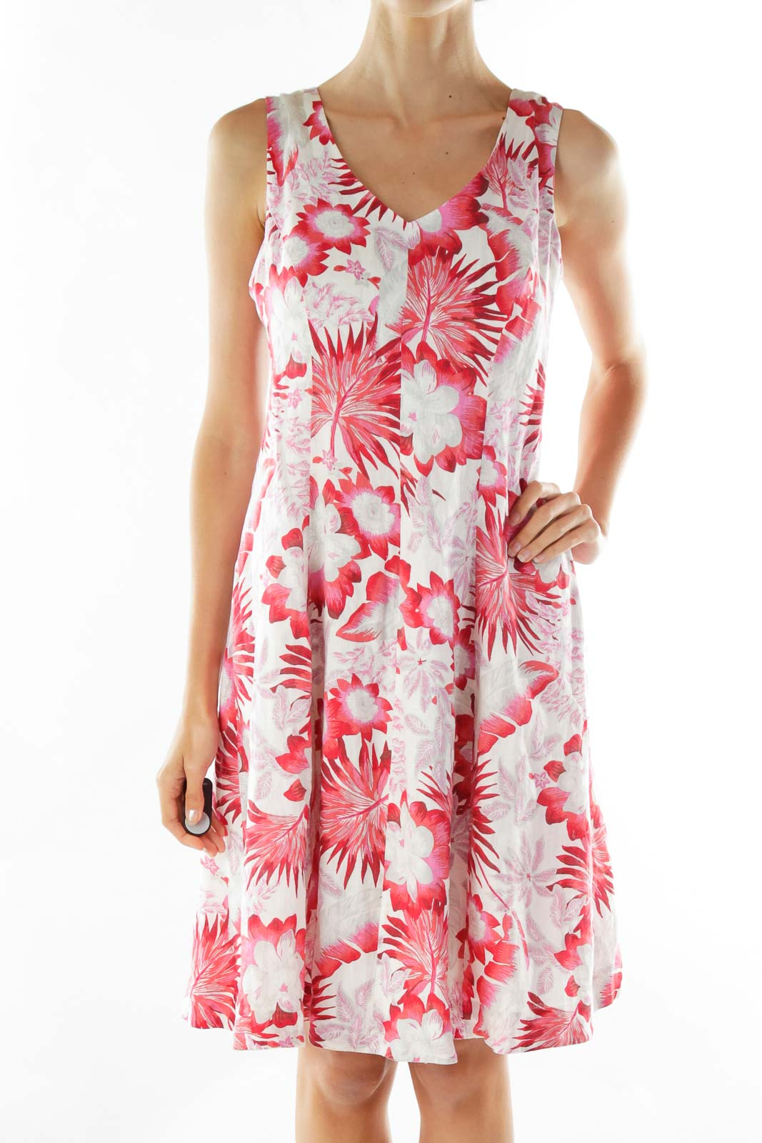 Red Pink White Linen Flower Dress
