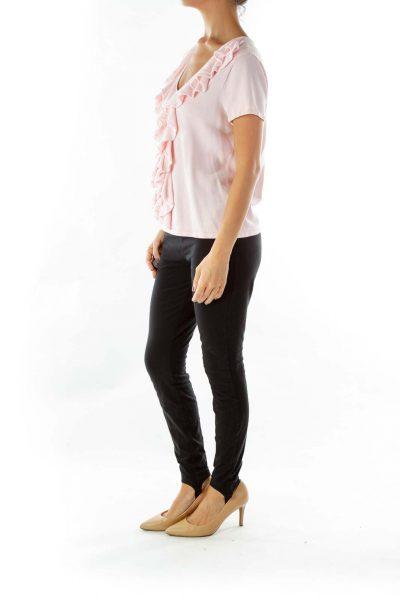 Pink Ruffled Knit Top