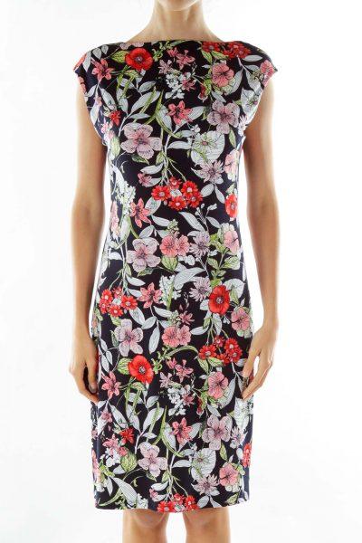 Black White Red Flower Print Midi Dress