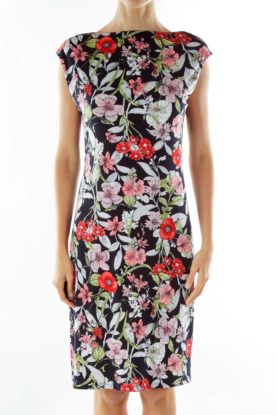Black White Red Flower Print Midi Dress