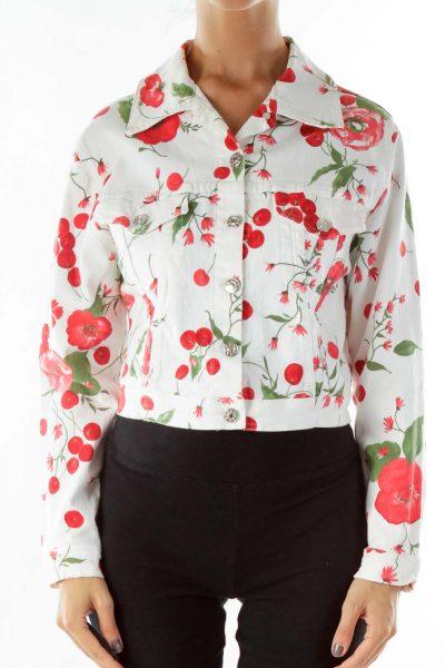 White Red Flower Denim Jacket